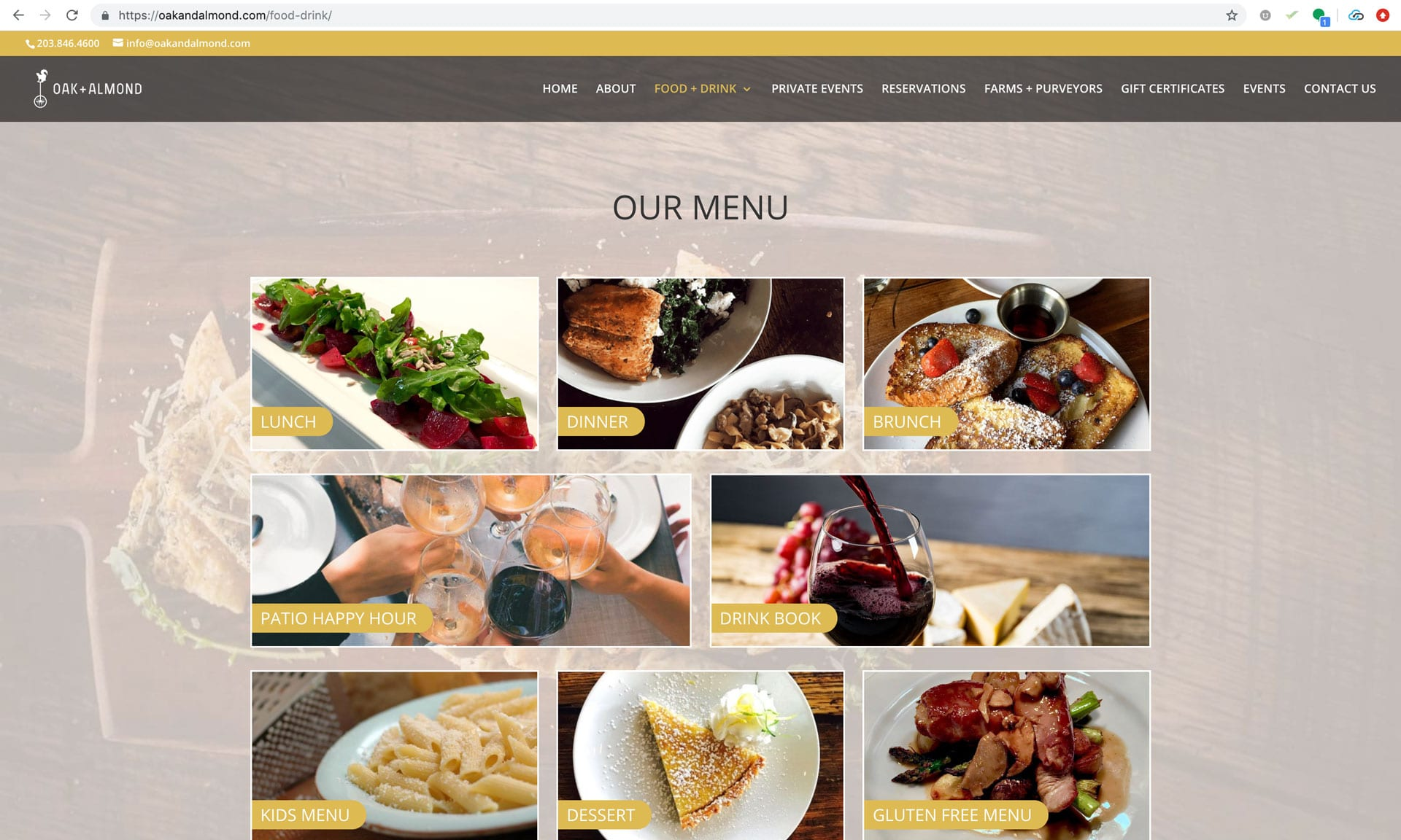 Oak and Almond New Menu Page - Website Design Wilton, CT Aspire Digital Solutions
