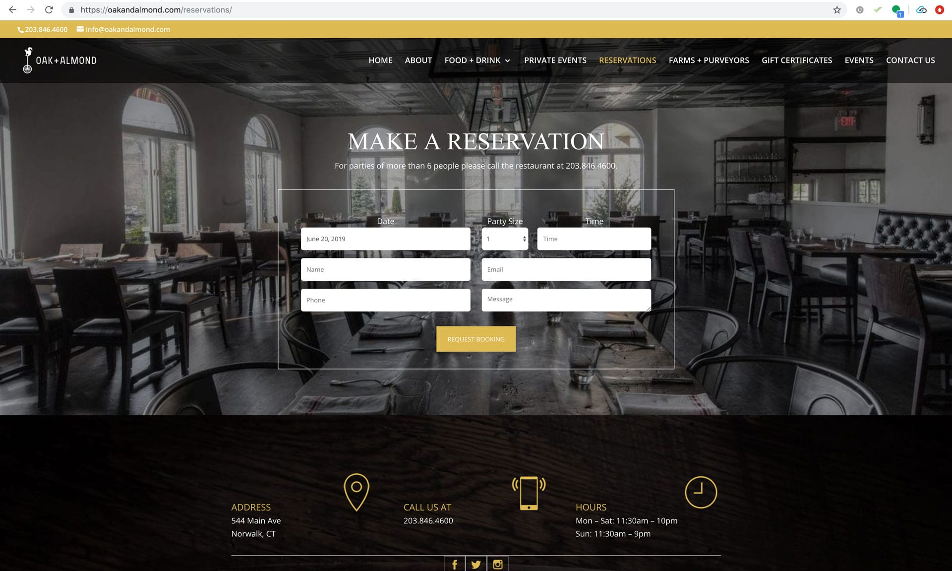 Oak and Almond New Reservation Page - Website Design Wilton, CT Aspire Digital Solutions