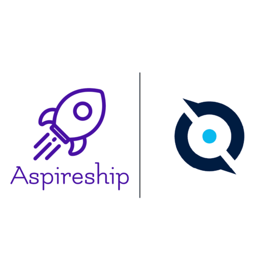 Image displaying Aspireship and Quotapath company logos signifying their partnership to launch and grow SaaS sales careers