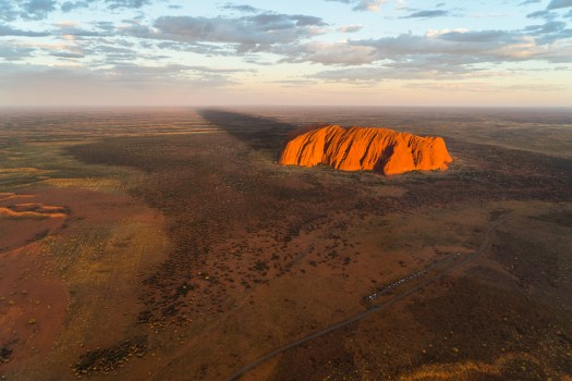 Ayer's Rock at sunset, from the sky