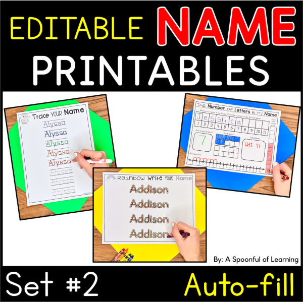 Examples of completed name activities from set 2 of the name printables.