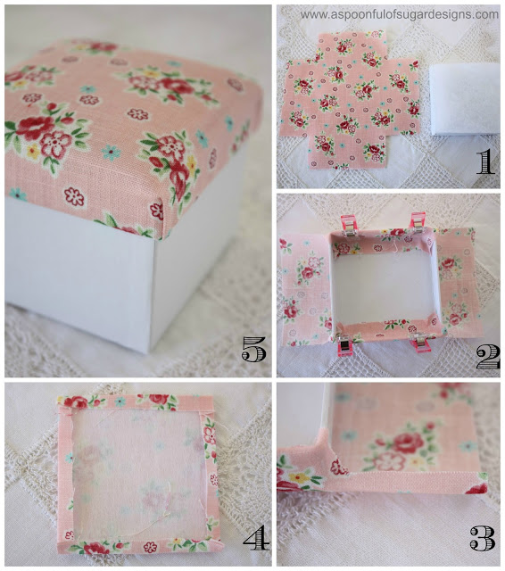 Fabric covered box a spoonful of sugar for Fabric covered boxes craft