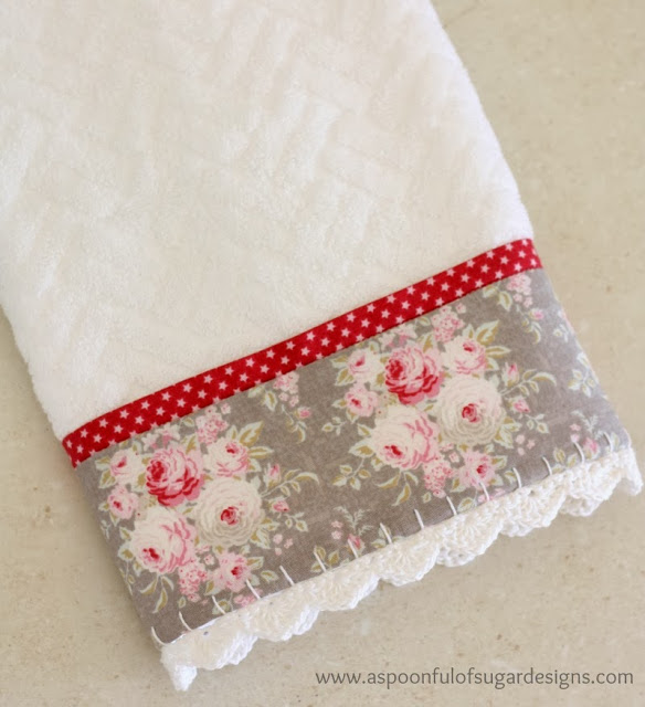 Tilda Sewing Projects - Guest towel with crochet trim by A Spoonful of Sugar