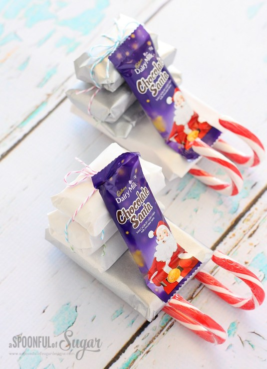 Candy Cane Chocolate Sleighs