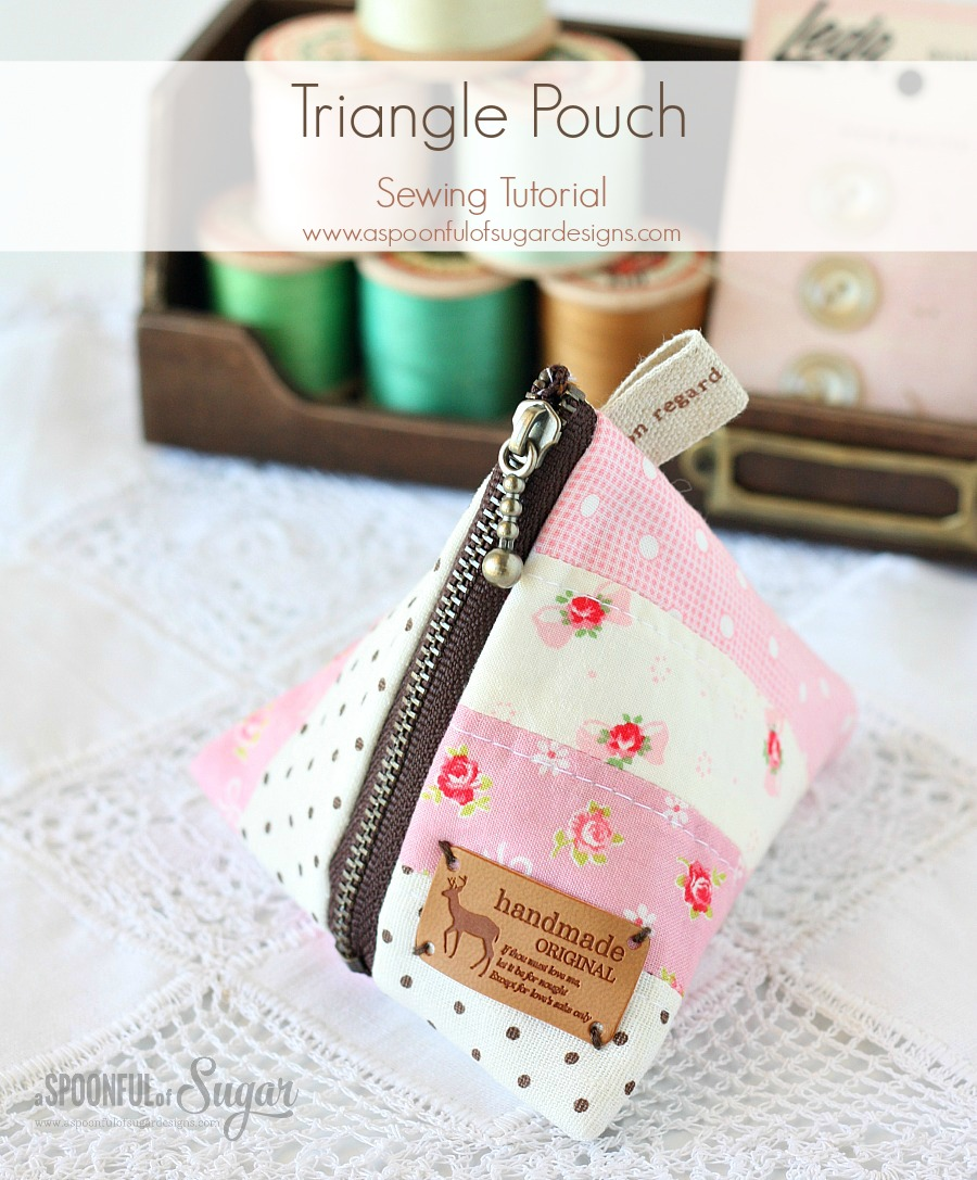Triangle Pouch Sewing Tutorial by www.aspoonfulofsugardesigns.com