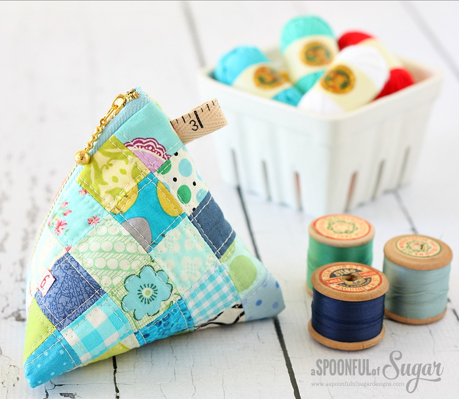 Patchwork Triangle Pouch Sewing Tutorial by A Spoonful of Sugar