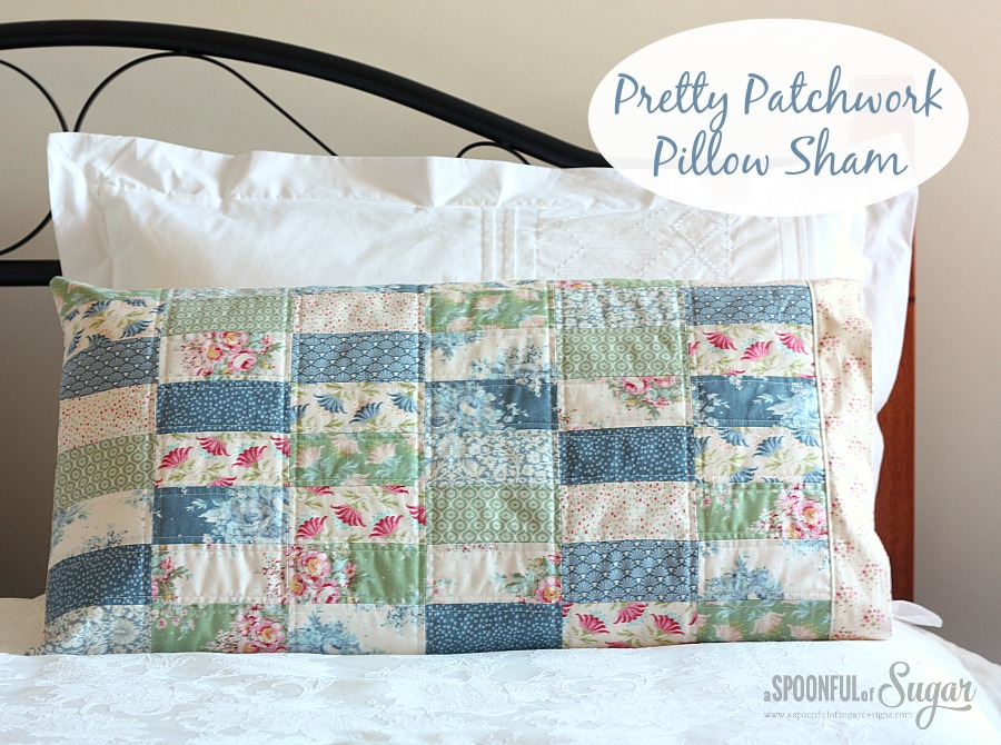 Tilda Sewing Projects - Pretty Patchwork Pillow Sham by A Spoonful of Sugar