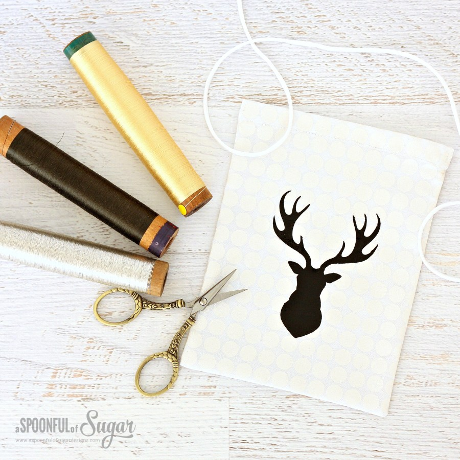 Drawstring Gift Bags with Deer Silhouette made by A Spoonful of Sugar