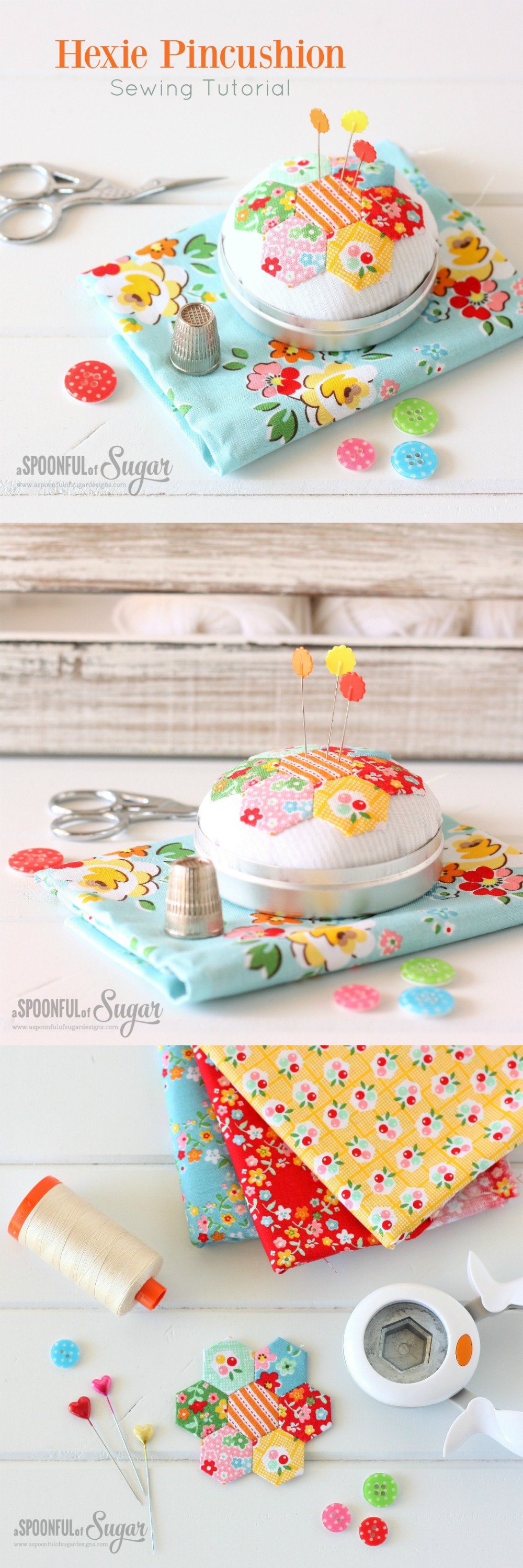 Hexie Pincushion {Free Sewing Tutorial} | A Spoonful of ...