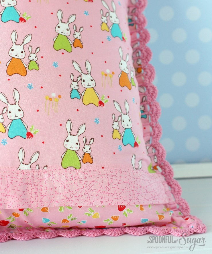 Retro Pillow made using Bunny Trail fabric by Jodie Carlton for Ella Blue Fabrics