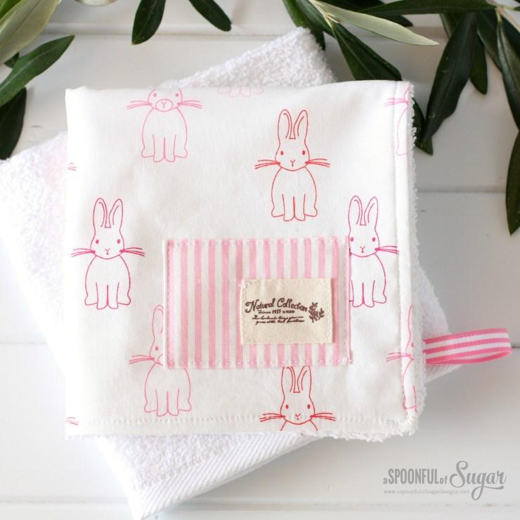 Zakka Face Cloth made using Bunny Trail fabric by Jodie Carlton for Ella Blue Fabrics