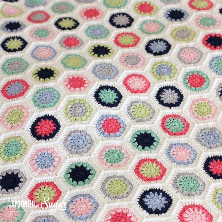 Hexie Love Actually crochet Blanket