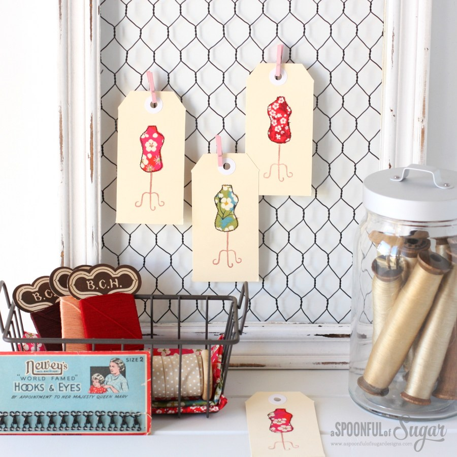 Liberty Dress Form Gift Tags - easy tutorial by A Spoonful of Sugar