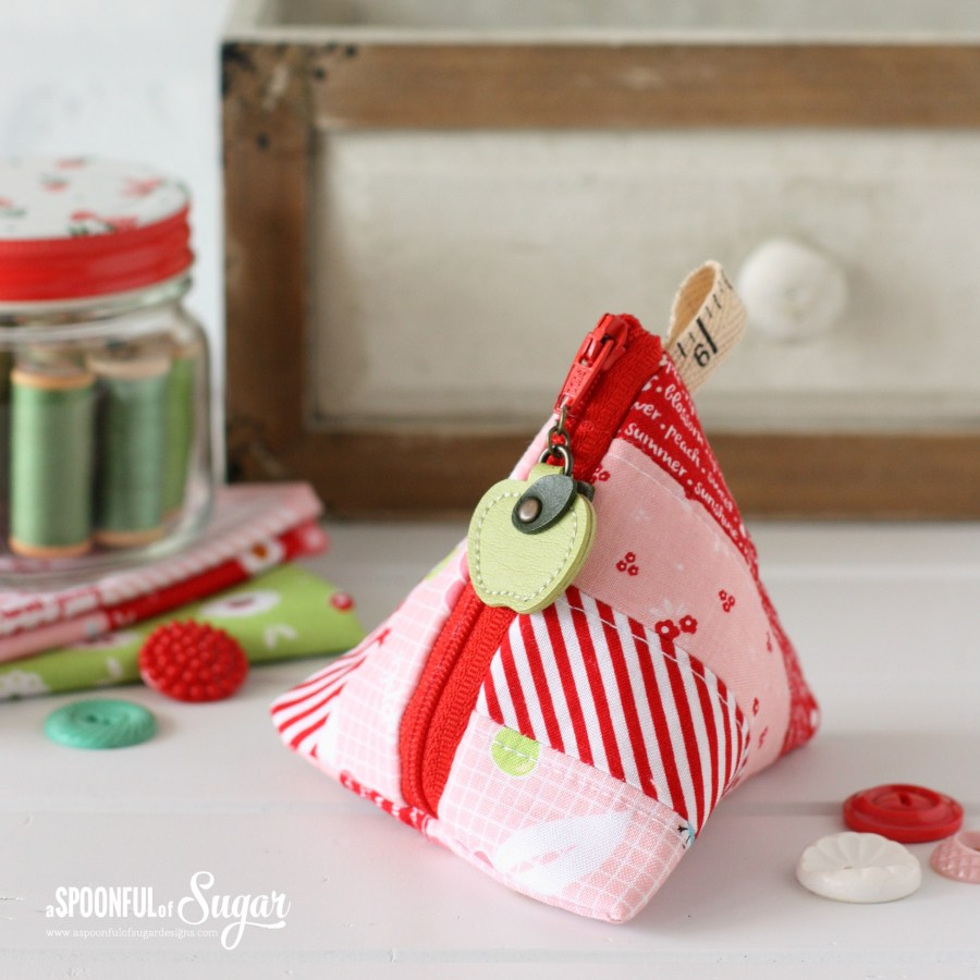 Triangle Pouch Tutorial by A Spoonful of Sugar, made using Sweet orchard fabric