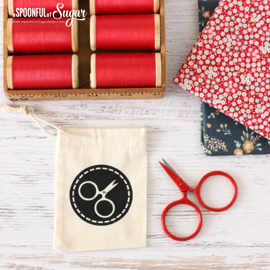 Little Scissors with Hand Printed Bag by Yardage Design