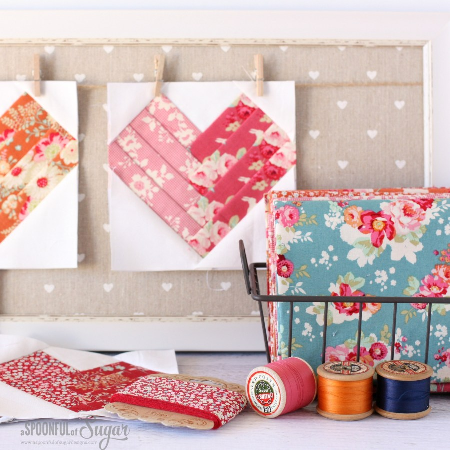 Heart of the Home Mini Quilt made using Tilda Cabbage Roses and Memory Lane fabrics.
