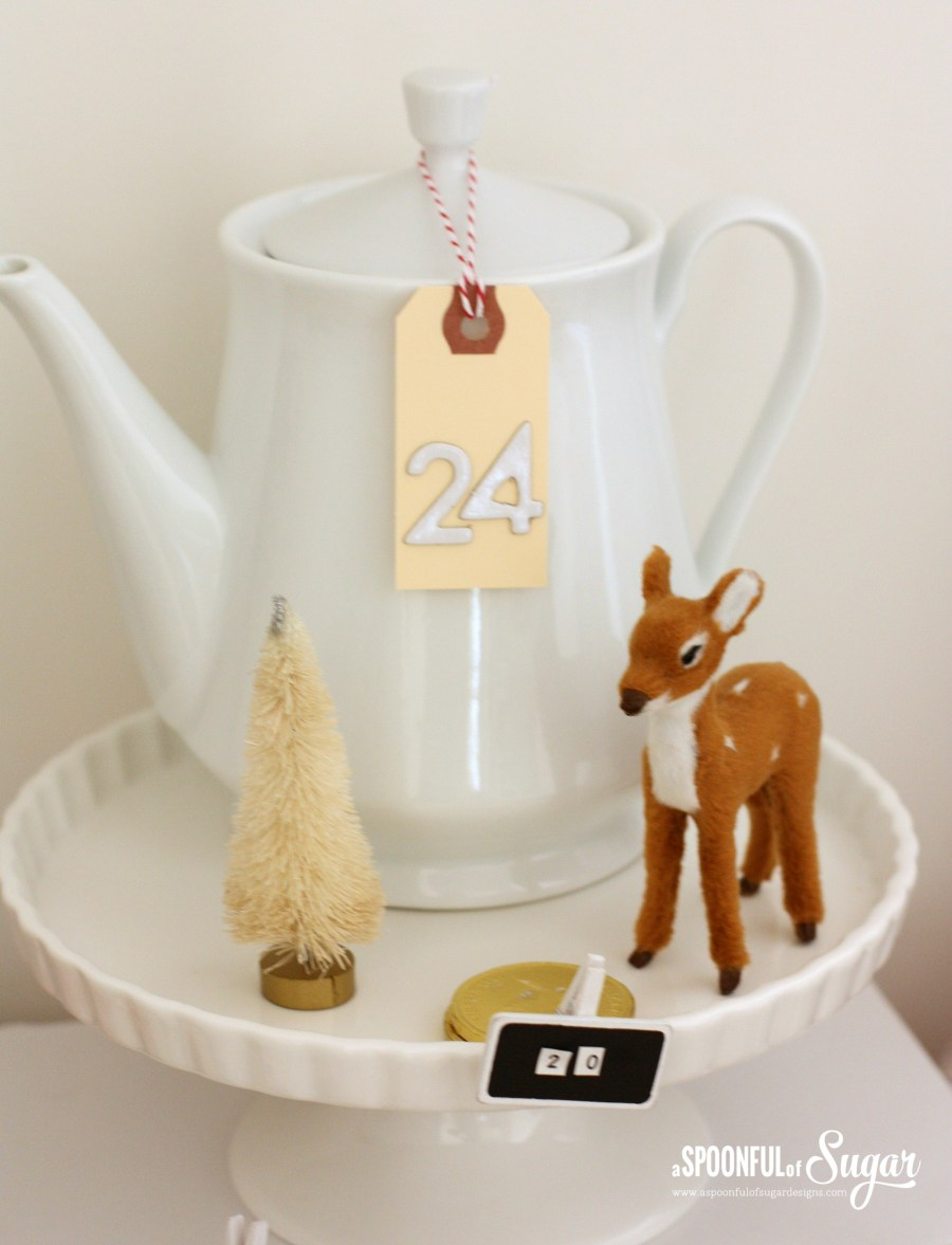 Advent countdown using assorted kitchenware. More details at www.aspoonfulofsugardesigns.com