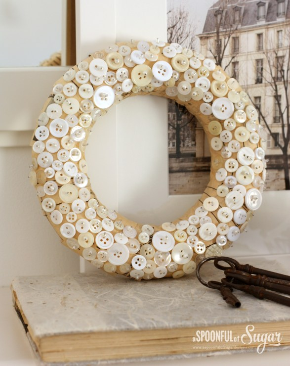 Christmas Wreath made from vintage buttons www.aspoonfulofsugardesigns.com