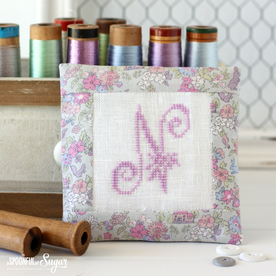 Cross stitch monogram wardrobe sachets