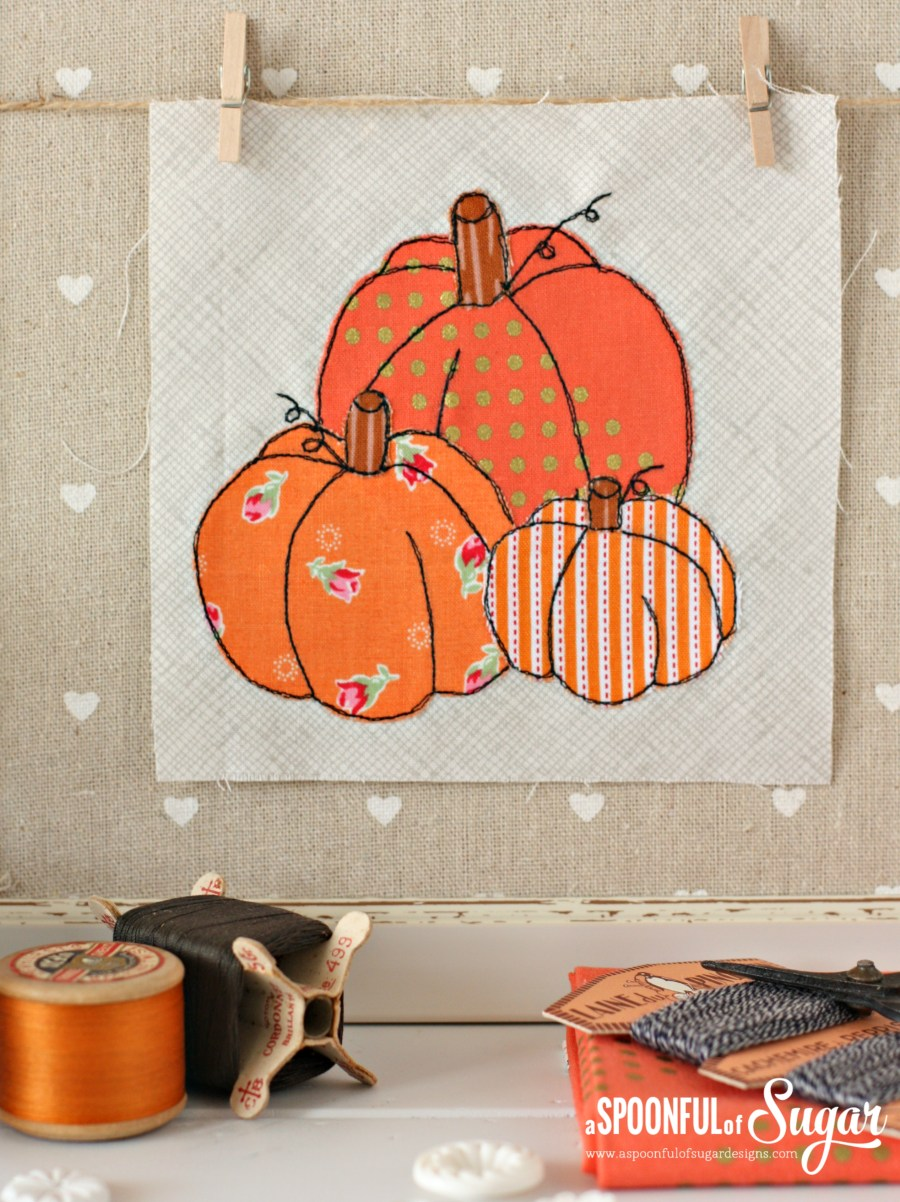 Pumpkin patch halloween applique - free project by A Spoonful of Sugar www.aspoonfulofsugardesigns.com