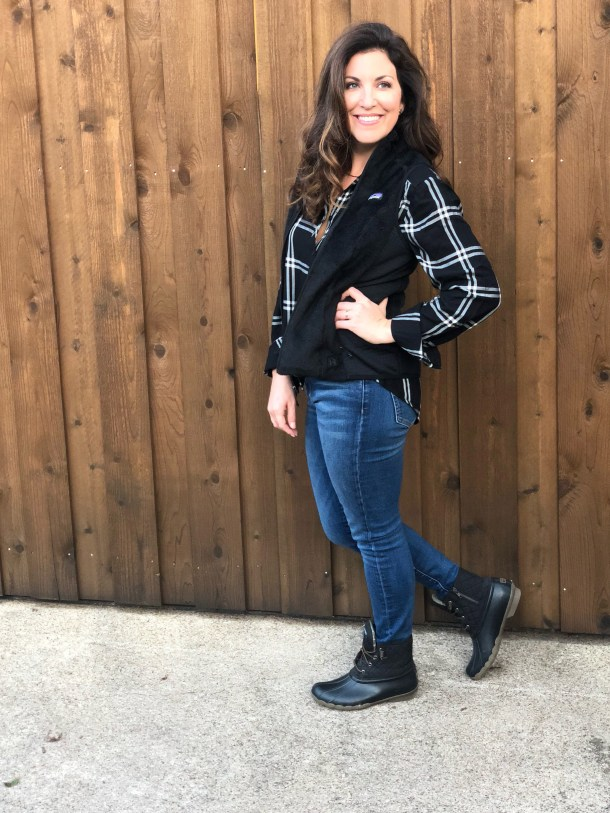 1260b29acedf6 Patagonia Vest with Plaid Top and Sperry Duck Boots