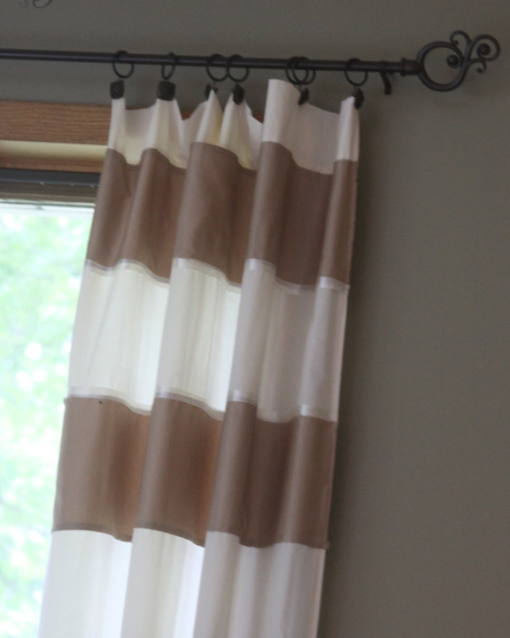 make striped curtains from a bedsheet