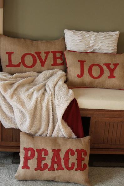 Homemade Christmas Decor Burlap Pillows A Spotted Pony