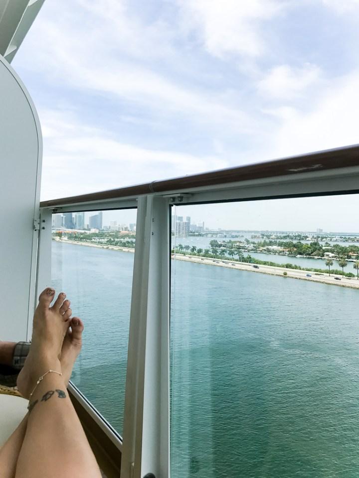 Balcony in Haven Spa Suite while still in port in Miami