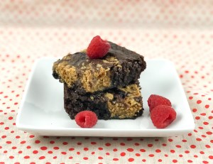 Peanut Butter and Jelly Brownies on plate | asprinkleandasplash.com