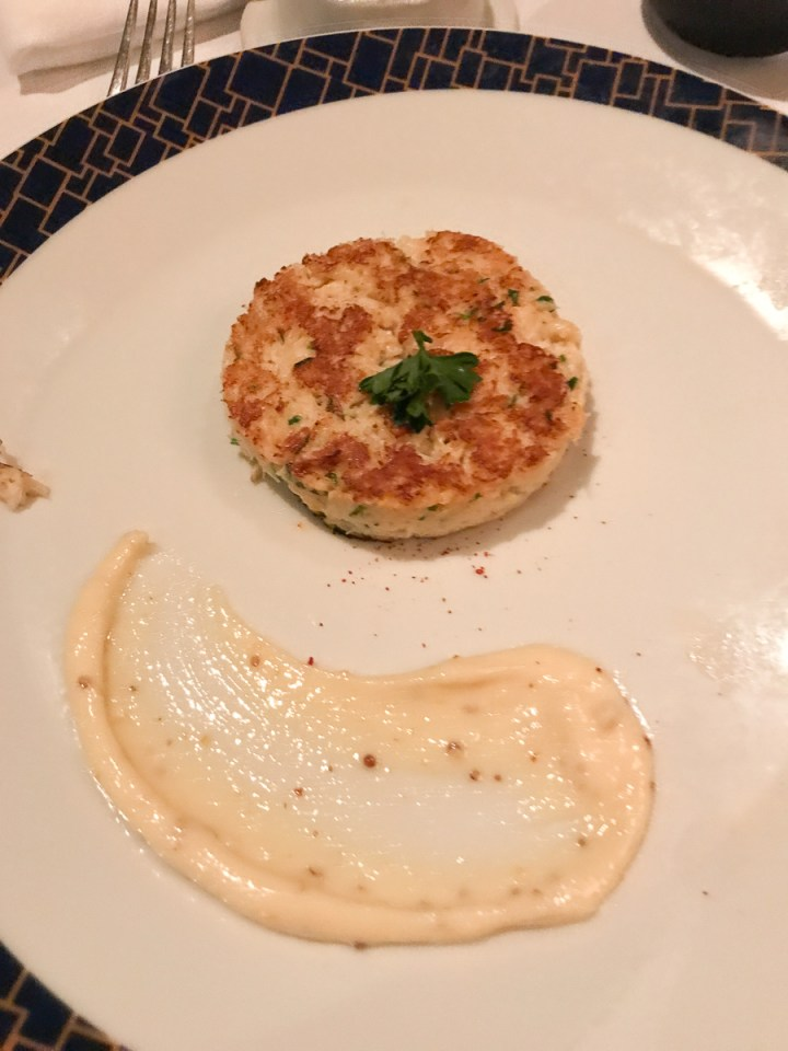 Lump crab cake with Pommery mustard sauce in Cagney's steakhouse
