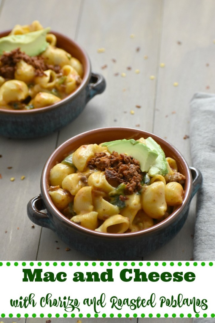 Mac and Cheese with Chorizo and Roasted Poblanos label pic
