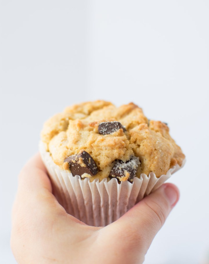 Closeup of a hand holding a muffin