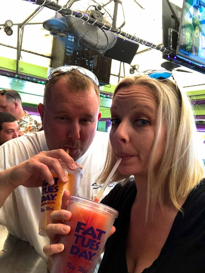 Enjoying our drinks at Fat Tuesday