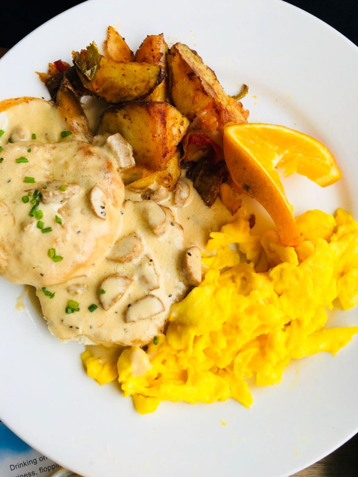Biscuits and Gravy with scrambled eggs and home fries
