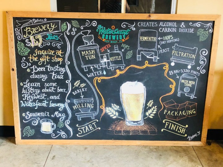 Cute chalkboard in The Waterfront Brewery explaining the brewing process