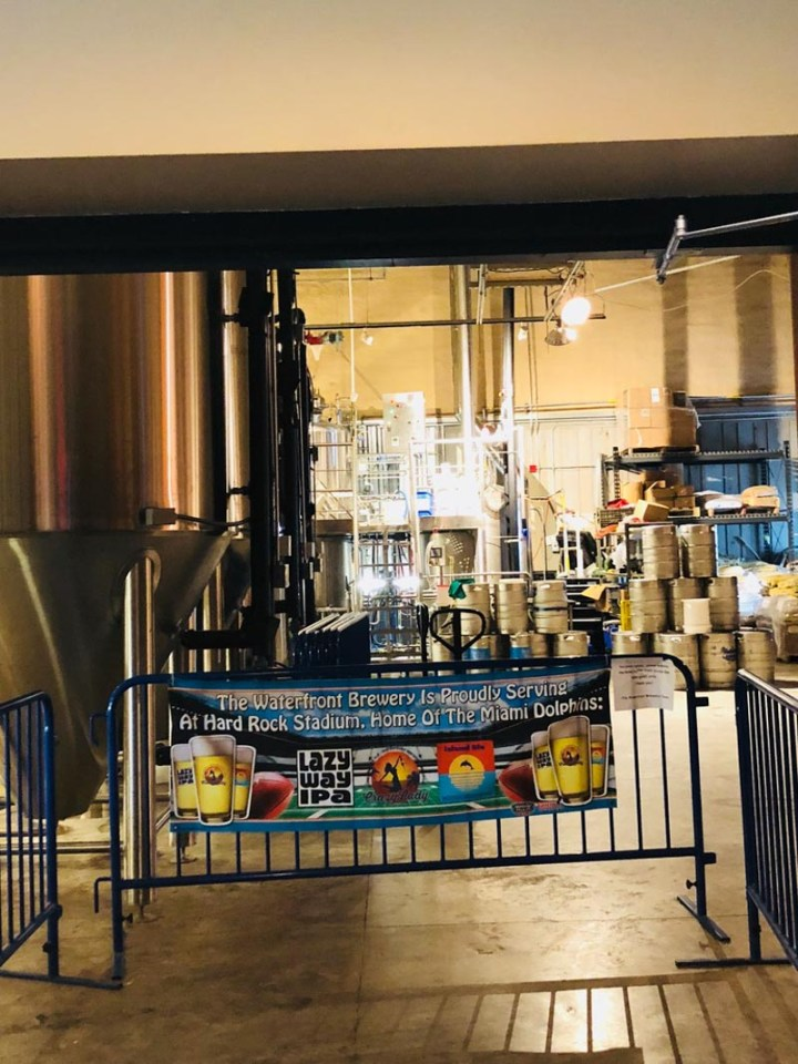 Brewing of beer at The Waterfront Brewery