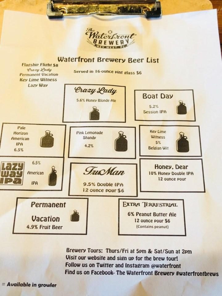 Beer list at The Waterfront Brewery