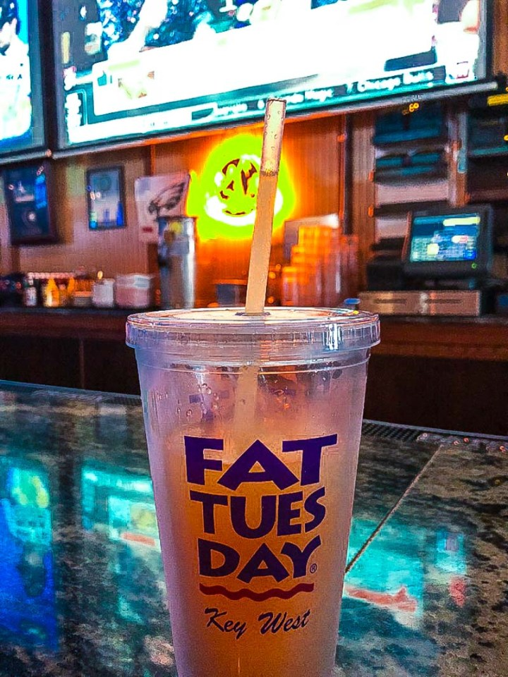 Getting a refill at Fat Tuesday