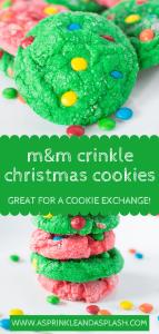 M&M crinkle christmas cookies pin 2