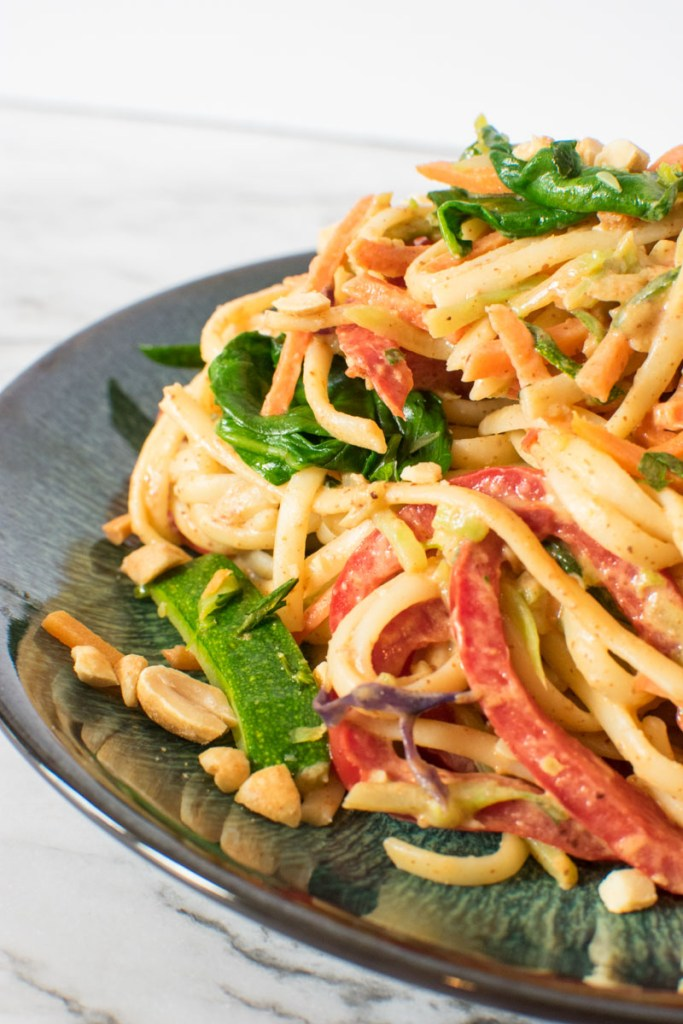 Close up view of Spicy Almond Butter Vegetarian Noodles