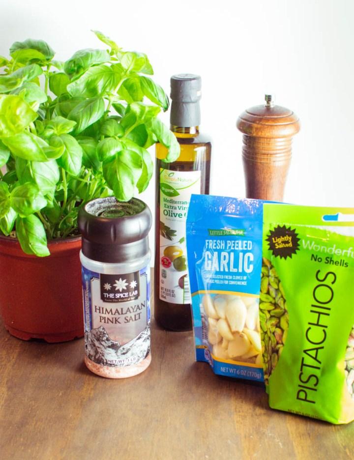Ingredients used to make Vegan Pistachio Pesto