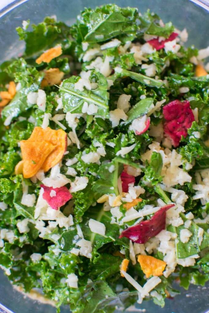 Super close up view of Lemony Raw Kale Salad