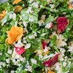 Super close up view of Lemony Raw Kale Salad
