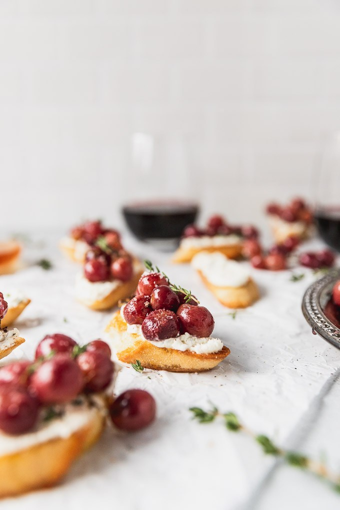 Roasted Grape and Honey Goat Cheese Crostini