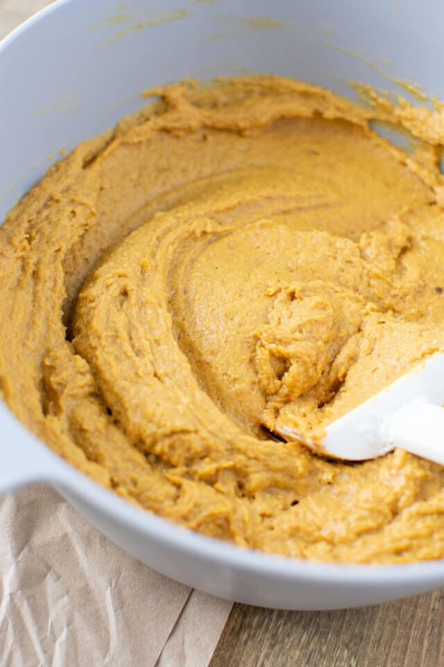 Closeup view of blended pumpkin batter