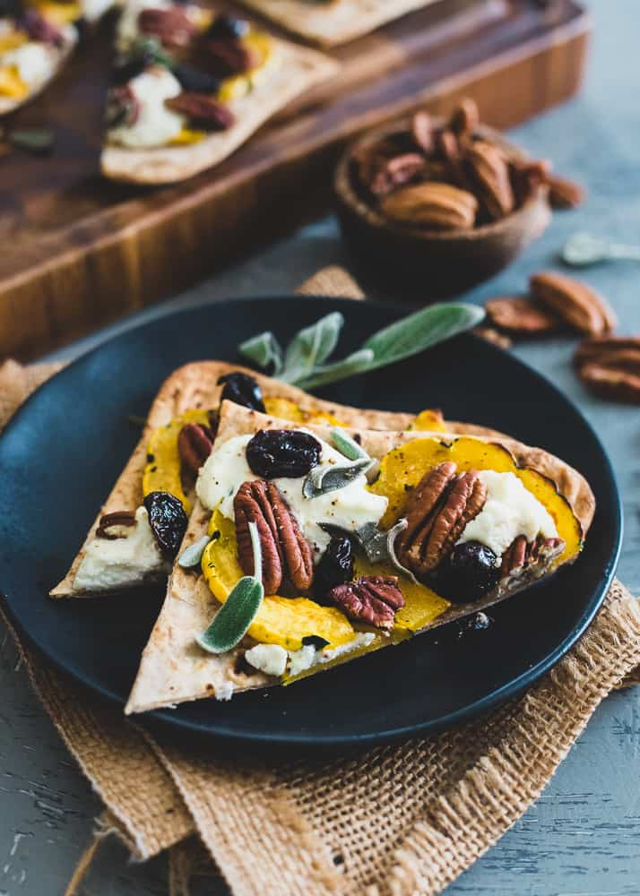 Delicata Squash Flatbread with Pecans, Cherries and Ricotta
