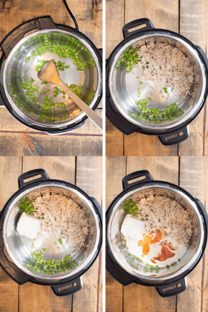 Step By Step Picture of adding buffalo chicken ingredients to Instant Pot
