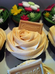 Caramac and Flower Cupcakes