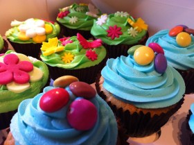 Smartie cupcakes and flower gardens