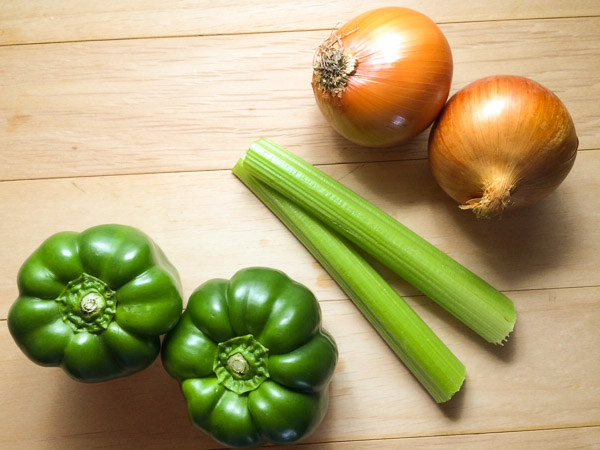Onion, bell pepper, and celery make up the base for the Trinity Roux™: A Grain Free, Paleo, and Gluten Free Roux from A Sprinkling of Cayenne.   https://asprinklingofcayenne.com